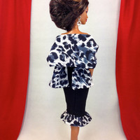 Barbie Doll Clothes Handmade - Black Fitted Dress with Abstract Print Shawl, Earrings, and Customized Shoes