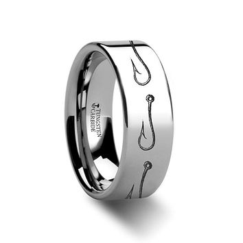 Sea Pattern - Fishing Hook - Sea Print Ring - Laser Engraved - Flat Tungsten Ring - 4mm - 6mm - 8mm - 10mm - 12mm