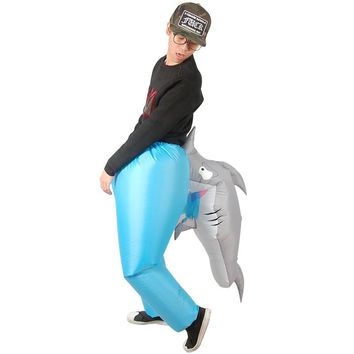 Inflatable Shark bite costume adult novelty fancy dress postman stag SHARK cosplay costume for Halloween Purim party150cm-200cm