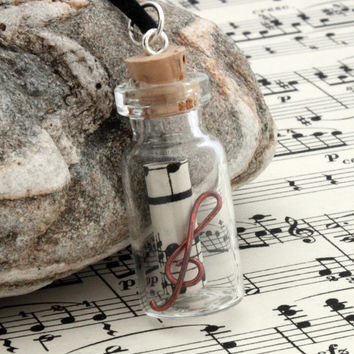 Sheet music glass vial pendant for music lovers with scroll of upcycled vintage sheet music and a copper wire treble clef- Musical gift