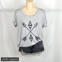 Boho Arrow - Women's Plus Size, Heather Grey Short Sleeve, Graphic Print Shirt