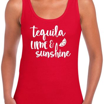 Tequila Lime And Sunshine - Ladies Summer Beach Vacation Tank Top.