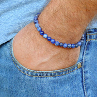Mens Bracelete,Mens Beaded bracelet , Blue Stone beads , Sodalite ,Surfer bracelet ,Stretch ,Meditation, Mens gift, man jewelry