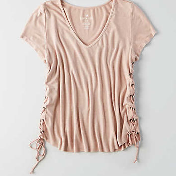 AEO Soft & Sexy Ribbed Voop T-Shirt, Light Pink