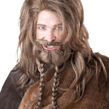 Viking Wig, Beard And Moustache (One Size,Dirty Blonde)