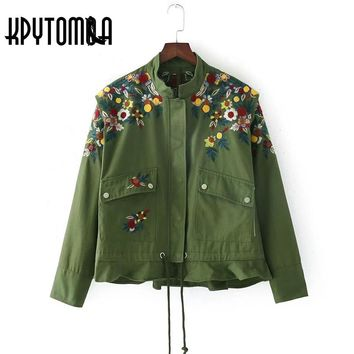 Vintage Floral Embroidery Ruffles Army Green Jacket Women Coat 2017 New Fashion Stand Collar Lace Up Outwear Casual Femme Casaco