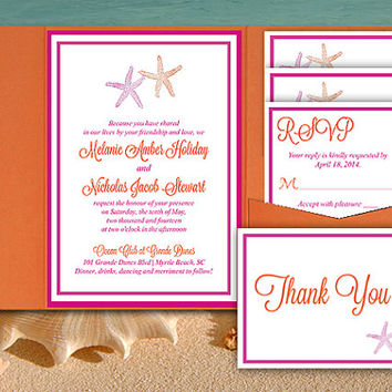 Starfish Wedding Pocketfold Template - Beach Wedding Invitation - Fuchsia Orange Invitation RSVP Accommodation Reception Thank You