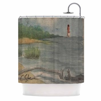 "Cyndi Steen ""Abate Coastal "" Blue Gray Watercolor Shower Curtain"