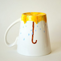 Rainy Day Coffee Mug - Umbrella Art - Hand Painted Coffee Mug