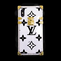Louis Vuitton street fashion men and women models wild transparent iphone8 anti-fall soft shell protective cover