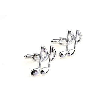 Music Note CuffLinks for Shirts Cuff links Glossy Silver Paint Color Metal Pattern Exquisite Button High Quality Cuff-links XK09