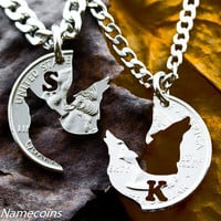 Wolf Necklace Howling initial Jewelry Custom with initials interlocking set, hand cut coin
