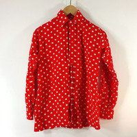 Vintage BROOKS BROTHERS Red and White Polka Dot Blouse - Women's Shirt - SZ S