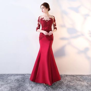 Evening dress 2018 new host party fish tail evening dress long dress to show thin bride wedding dresses