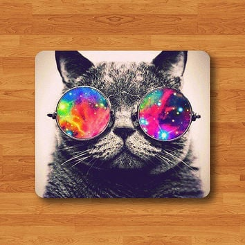 Funny Cat Wearing Galaxy Hipster Glasses Mouse Pad Mat Cooling MousePad Natural Desk Deco Vintage Computer Pad Personalized New Year Gift