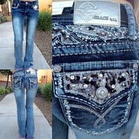 GRACE IN L.A. SILVER MARKINGS BOOTCUT JEANS