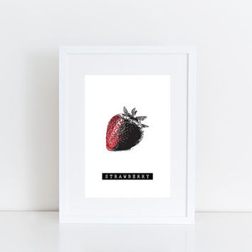 Strawberry -  Printable art , Instant download