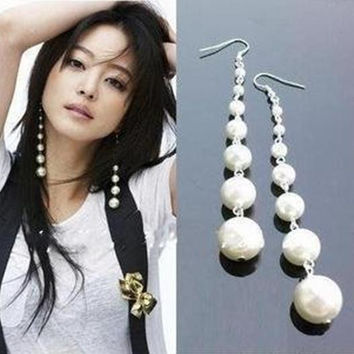 Long  Pearl Dangle earrings from india