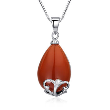 Sterling Silver Pear-shape Red Onyx and Cubic Zirconia Pendant Necklace