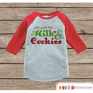 Funny Kids Christmas Outfit - Will Work for Milk & Cookies Onepiece or Shirt - Kids Holiday Outfit - Boy Girl, Kids, Baby, Toddler, Youth