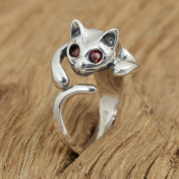 Cute Cat Red Eye Silver Ring