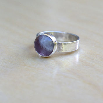 Amethyst Sterling Silver Ring, Boho Ring, Gemstone Ring, Polished Ring, Hippie Jewelry, Bohemian, Gypsy Style, Ready to Ship, Size 6 US
