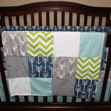 Baby Boy Crib Bedding - Gray Buck, Navy Arrow, Lime Chevron, Aqua Herringbone, and Gray Crib Bedding Ensemble