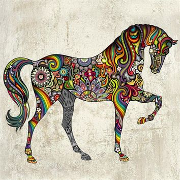 2016 New Abstract Design Decorative Wall Decal Colorful Flower Pattern Horse Wall Stickers for Kids Rooms Decoration