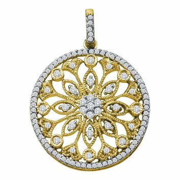 10kt Yellow Gold Women's Round Diamond Antique-style Circle Pendant 1-2 Cttw - FREE Shipping (US/CAN)