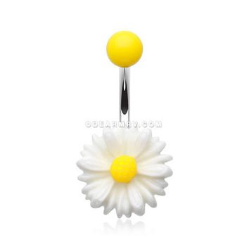 Cutesy Daisy Belly Button Ring (White/Yellow)
