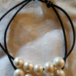 Genuine 10 Freshwater Pearl and Leather Bracelet