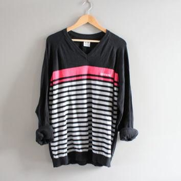 Adidas Sweater Black Stripes Cotton Sweater Adidas Black Pullover Slouchy Sweater V-ne