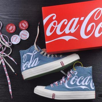 Best Onlie Sale KITH x Coca Cola x Converse Chuck Taylor All Star 1970s High 70 Sneakers Blue