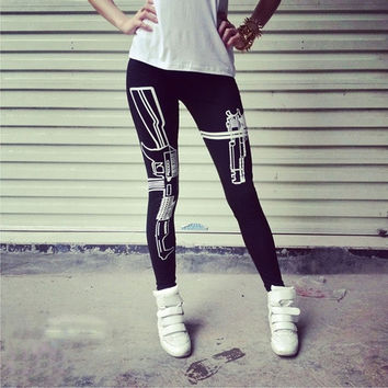 New Machine Gun Print Black Soft Cotton Leggings Tights Pants = 1930473476