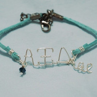 Sorority Personalized Greek Letters Adjustable Bracelet with Swarovski Crystal with Big, Lil, Gbig, or Glil Charm charm
