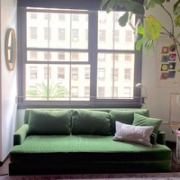 Green Velvet Sofa - comfortable!
