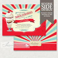Ice Cream Social Invitation / Soda Shop Printable Invite
