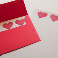 Three of Hearts Stationary Set valentine's day eco-friendly hemp 8 bit love stationery weddings anniversary