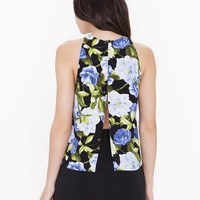 Printed Crepe Open Back Top | American Apparel