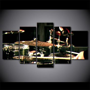 Drums and Cymbals Musical Instrument  Wall Art Canvas Panel Art Framed UNframed