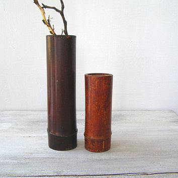 Vintage Bamboo Tall Vases Candle Holders, Asian Brown Table Shelf Nature woods Rustic Decor, Reeds Branch Display, Oriental Desk Decoration