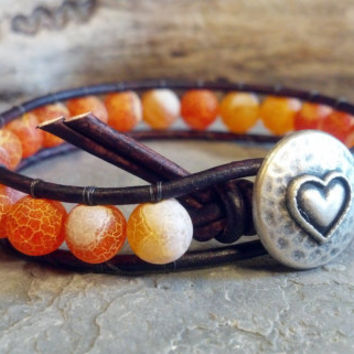 Fire Agate Gemstone, Leather Wrap Bracelet, Gemstone Bracelet, Beaded Bracelet, Christmas in July