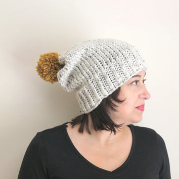 Oatmeal Beanie with Yellow Pom Pom, Pom Pom Hat, Chunky Knit Hat, Warm Winter Hat, Knit Beanie, Women's Accessories, Fall and Winter