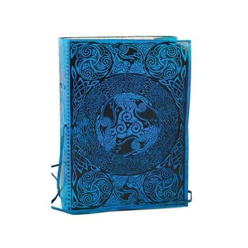 5 x 7 Dyed Blue Leather Journal Diary Sacred Symbols