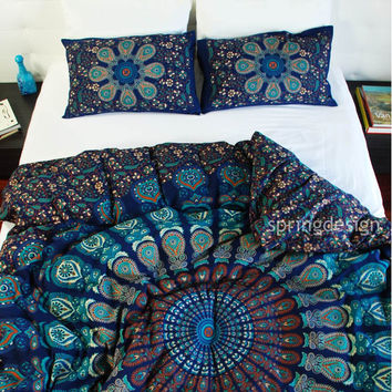 Vayu, Queen/Twin or Single Size Mandala Duvet Cover with 2 pillowcases,  %100 Cotton, Hand Block Printed, Kairos