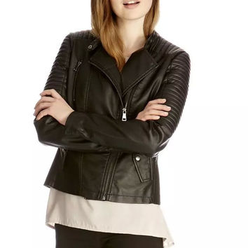 Black Faux Leather Notched Long-Sleeve Zippered Jacket