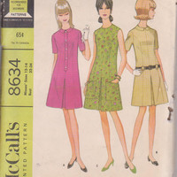 1960s vintage pattern for semi-ffitted dress with front pleat, short sleeved or sleeveless misses size 12 14 McCalls 8634 CUT and COMPLETE