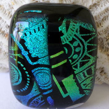 Teal Blue Green Dichroic Glass Cabochon Cab  Mosaic Dichroic Pendant  Colorful Vibrant Mosaic Fused Glass  PMC Wire Wrap