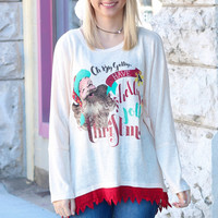 Holly Jolly Christmas Lace Trim Sweater Tunic
