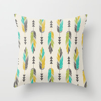 Painted Feathers in a Row-Cream Throw Pillow by Bohemian Gypsy Jane | Society6